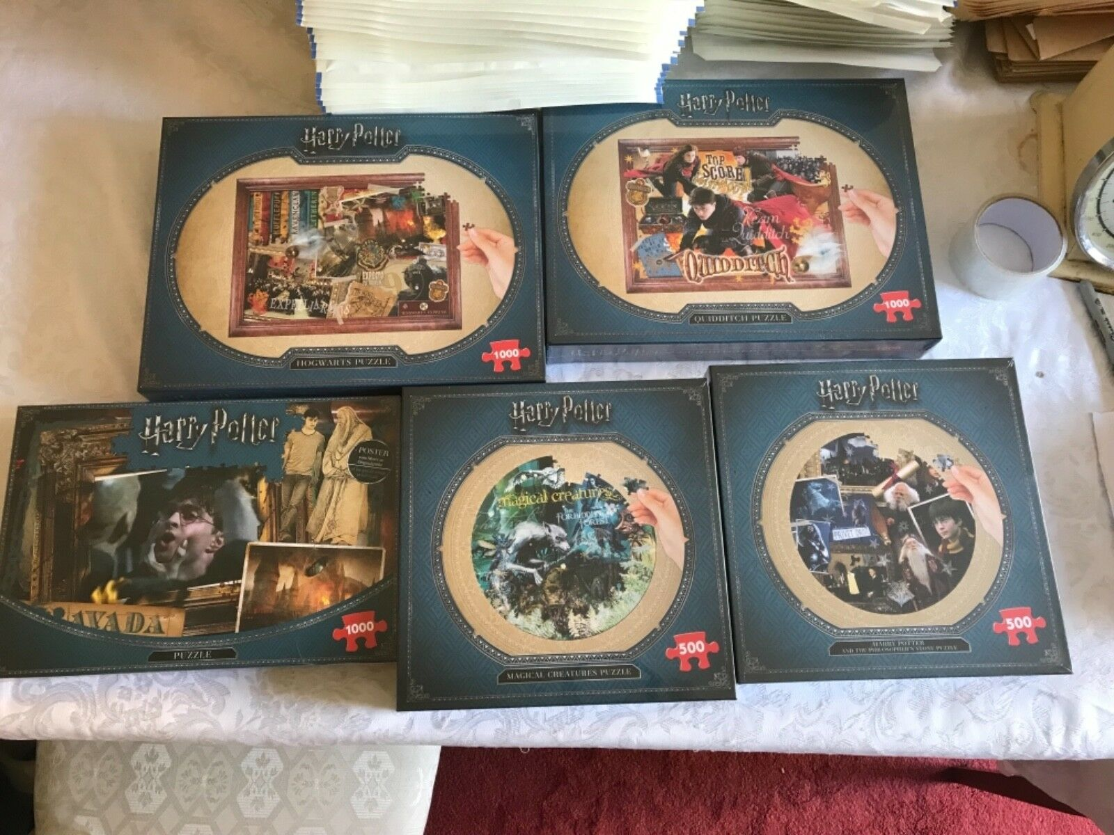 JOBLOT BUNDLE 5 x HARRY POTTER 500 & 1000 PIECE JIGSAW PUZZLES NEW GIFT SETS