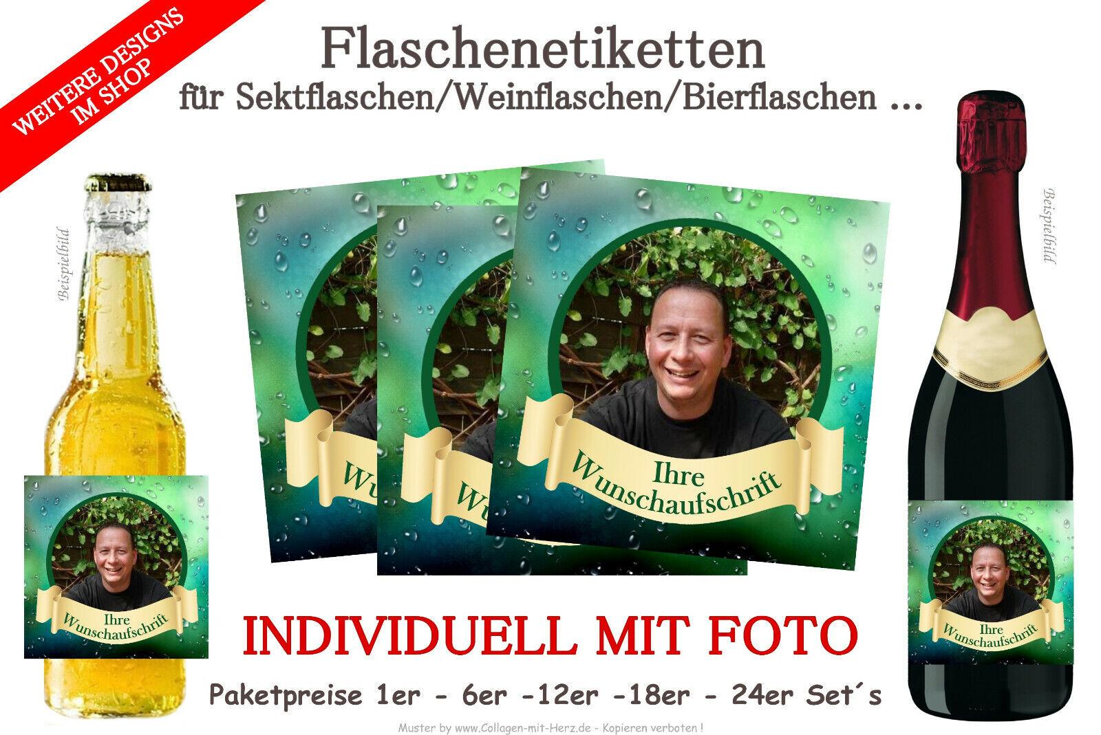 Sektflaschen Bierflaschen für Geburtstag mit Foto D25 Flaschenetikett f