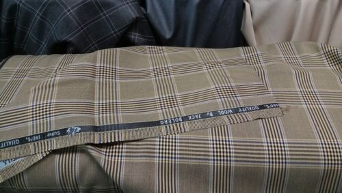 Brown Glen Plaid Window pane Check Suit Fabric 180s Quality Wool Suiting