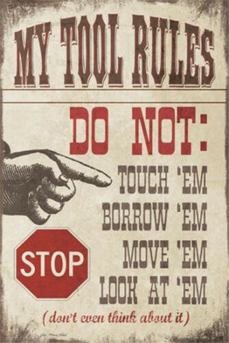 Metal Tin Sign my tool rules Pub Home Vintage Retro Poster Cafe ART