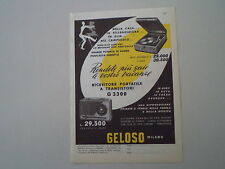 advertising Pubblicità 1960 GELOSO FONOGRAFO/RADIO TRANSISTORS G 3300