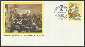 NORFOLK-ISLAND-1981-THANKSGIVING-DAY-PSE-FRUIT-VEGETABLES-First-Day-Postmark