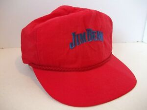 d482cf547 Details about Vintage Jim Beam Bourbon Whiskey Hat Light Red Snapback Rope  Baseball Cap