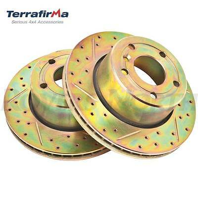 LAND ROVER FRONT BRAKE ROTOR DISC SET DRILLED DISCOVERY 2 II SDB000380CDG TF