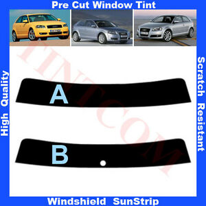 Pre-Cut-Window-Tint-Sunstrip-for-Audi-A3-3-Doors-Hatchback-2003-2010-Any-Shade