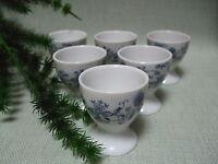 6 Porzellan Eierbecher Eier Becher Egg Cups Blau Weiss Ranken (1185)