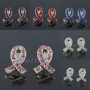 Wholesale-Crystal-Rhinestone-Ribbons-Cancer-Awarness-Stud-Ear-Earrings-Jewelry