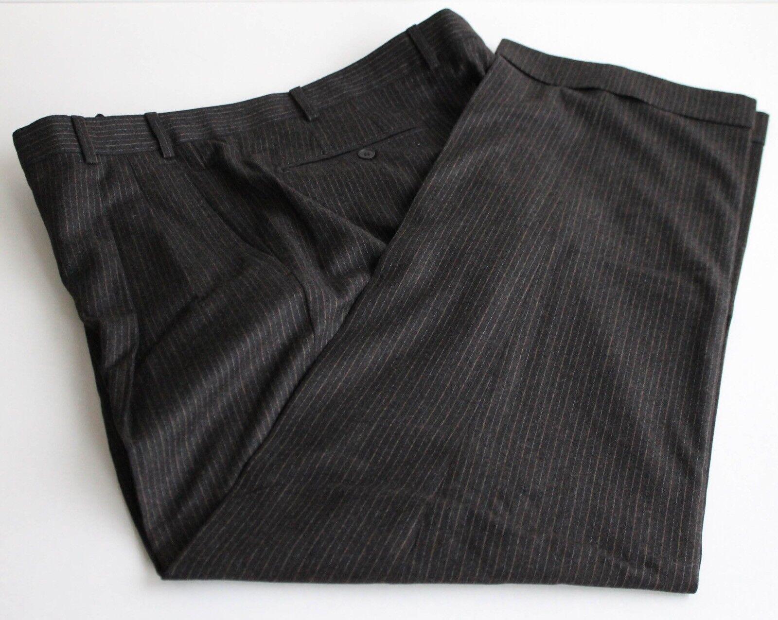 Zanella Milton Model Dark Brown Pinstripe Pants 100% Wool  39W 29L