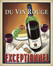 Du Vin Rouge Exceptionnel by Steve Forney Vintage Wine Red Print Poster 30x24
