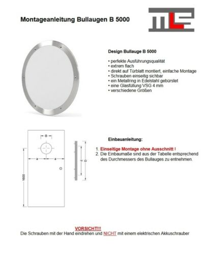 MLS hublot b5000 rundfenster inox brossé Ø 40 cm verre mat 0180-0193