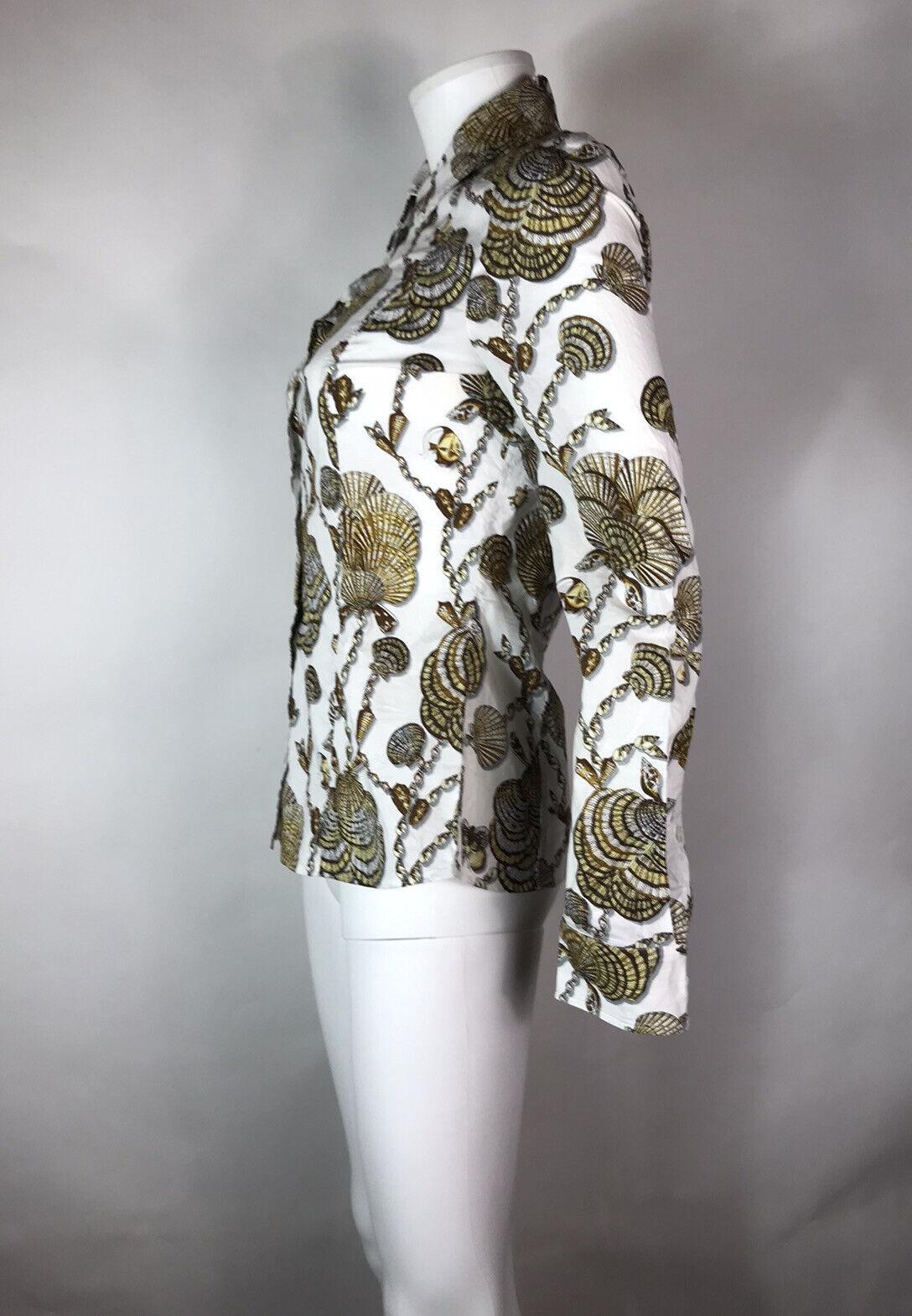 Rare Vtg Gucci White Seashell Print Top S - image 4