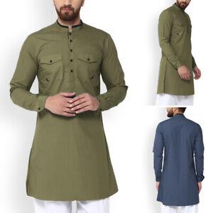 Men-039-s-Vintage-Style-Kurta-Henley-Shirt-Button-Up-Tops-Short-Kaftan-Indian-Blouse