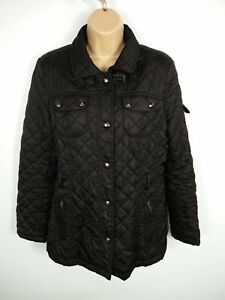 WOMENS-GALLERY-BLACK-BUTTON-UP-SMART-CASUAL-WINTER-QUILTED-JACKET-COAT-M-MEDIUM