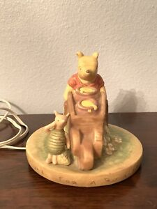 Disney Winnie the Pooh ceramic portable lamp night light Piglet Wheelbarrow