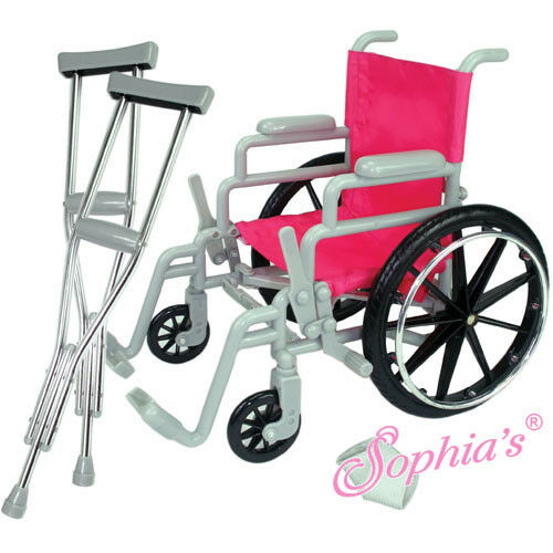 NEW IN BOX Doll Wheelchair and Crutches Accessories Set Foldable Rolling Turn