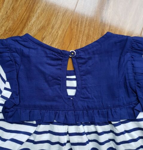 MINI BODEN GIRLS COTTON STRIPED TOP WITH NAVY RUFFLED DETAIL G0359 BRAND NEW