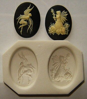Lot of 2 Fairy Cameo, Polymer Clay Push Molds 25x18mm Make Your Own Jewelry # 4