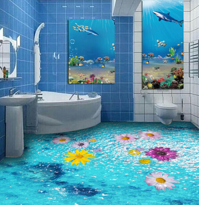 3D bluee Sea Daisy 832 Floor Wall Paper Murals Wall Print AJ WALLPAPER UK Lemon