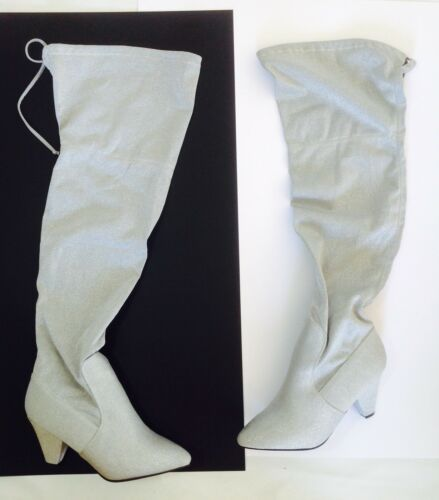 Plus Evening Thigh Boot Ladies Large Uk Glitter 12 Size Silver High Wide qZwCSUnw