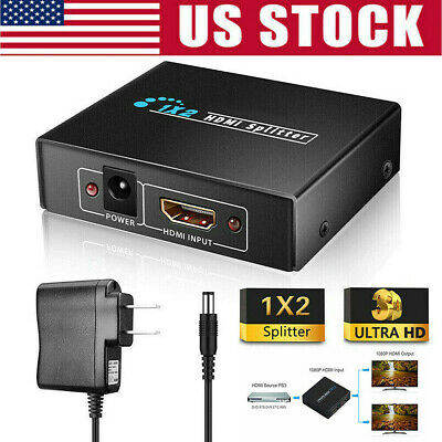 HD 4K HDMI Splitter 1X2 2 Ports Repeater Amplifier Hub 3D 1080p 1 In 2 Out US