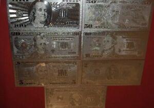 7 SILVER FOIL NOVELTY BILLS $100 $2 $10 $5 $20 $1 /& FREE 1g .999 silver $50
