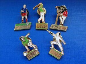 N-15-lot-de-5-pin-039-s-pins-insignes-escrime-foot-tennis-golf-photographe-BNP