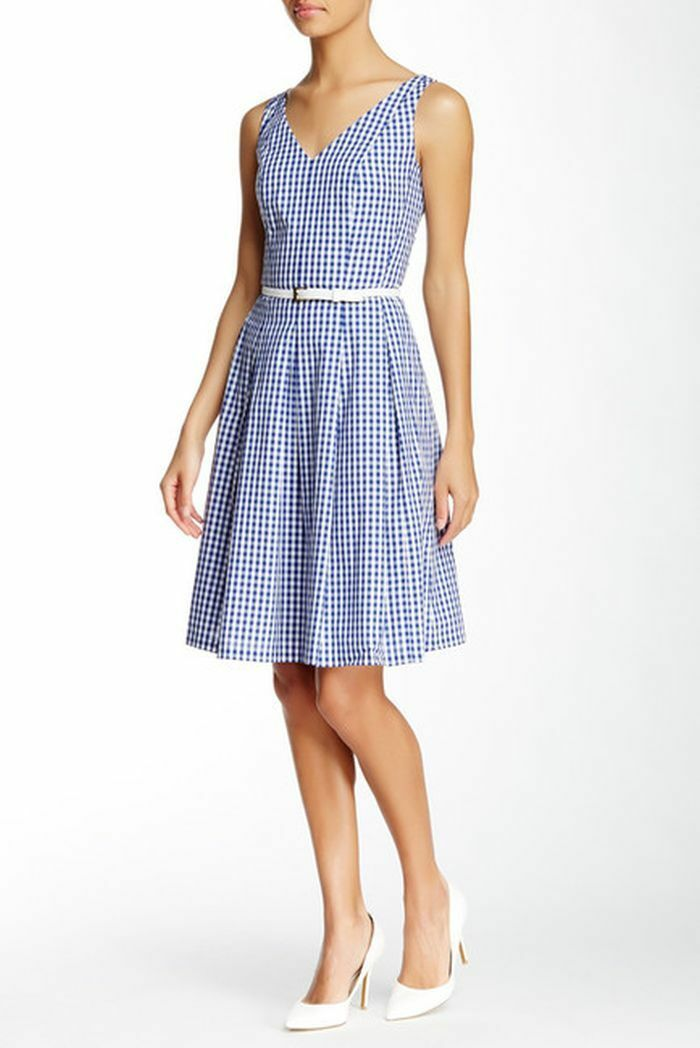 NWT Nine West bluee & White Cotton Cotton Cotton Sleeveless Gingham Pleated Dress 8  99 85c5c0