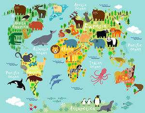 World map for kids ebay image is loading world map for kids gumiabroncs Choice Image