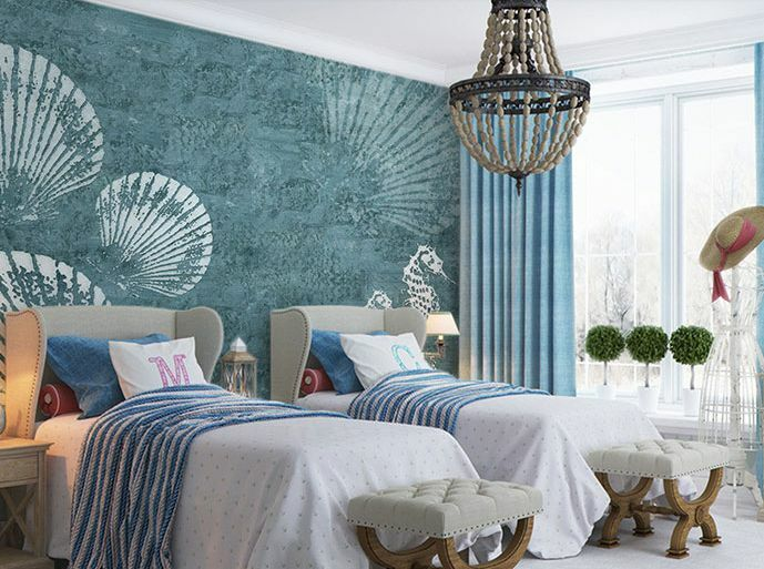 3D Shell Texture Blau Wall Paper Wall Print Decal Wall Deco Indoor wall Murals