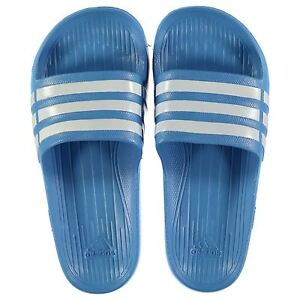8fb984d5e NEW Adidas Mens Duramo Sliders Flip Flops Blue White SIZE FROM 9-13 ...