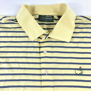 The-Masters-Amen-Corner-Mens-Yellow-Short-Sleeve-Striped-Golf-Polo-Size-XL