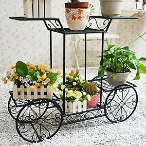 Image Is Loading Metal Cart Flower Rack Display Garden Tree Home