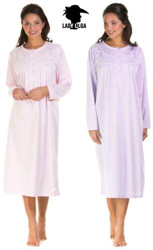 Donna Violet spazzolato cuddleknit in jersey a maniche lunghe Camicia da notte Camicia da Notte Abito