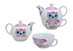 Teekannen-Set-Eule-Teeservice-Teekanne-Tasse-Teetasse-2-TLg-Pink-Porzellan-NEU