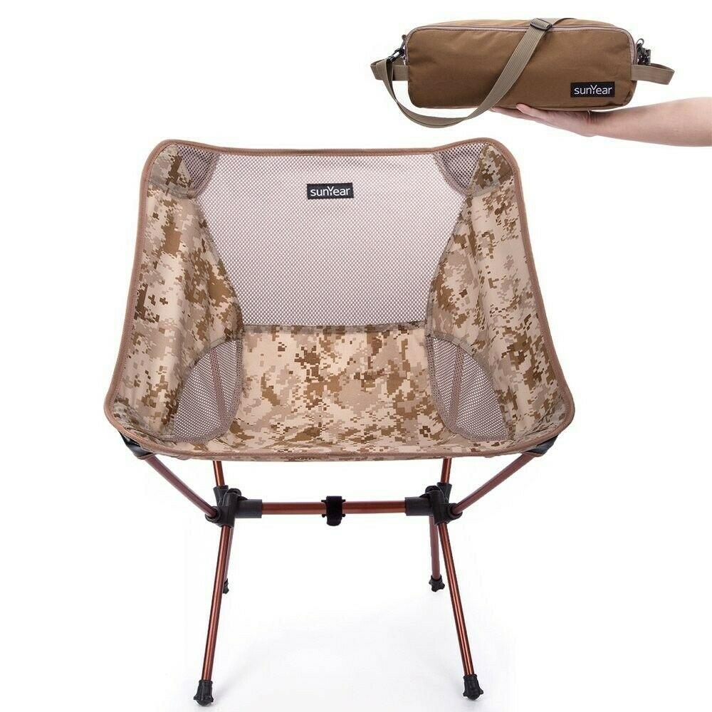 Camo Chair Folding Camping Compact Outdoor Seat Fishing Hiking Lightweight