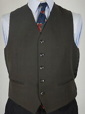 Vintage Mens Brown With Faint Green Check Wool Waistcoat Vest Size 40