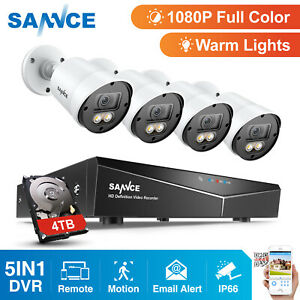 SANNCE-1080P-Full-Color-Night-Security-Camera-4CH-5in1-DVR-Warm-Light-System-HDD