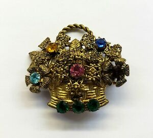 Signed. Czechoslovakia Diamante Gold Plated Brooch