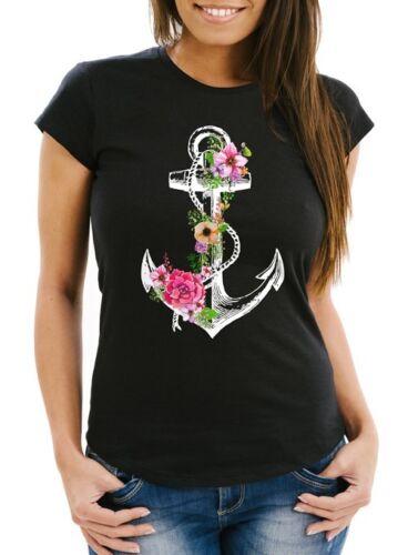 Damen T-Shirt Blumen Anker Flower Anchor Watercolor Slim Fit Neverless®