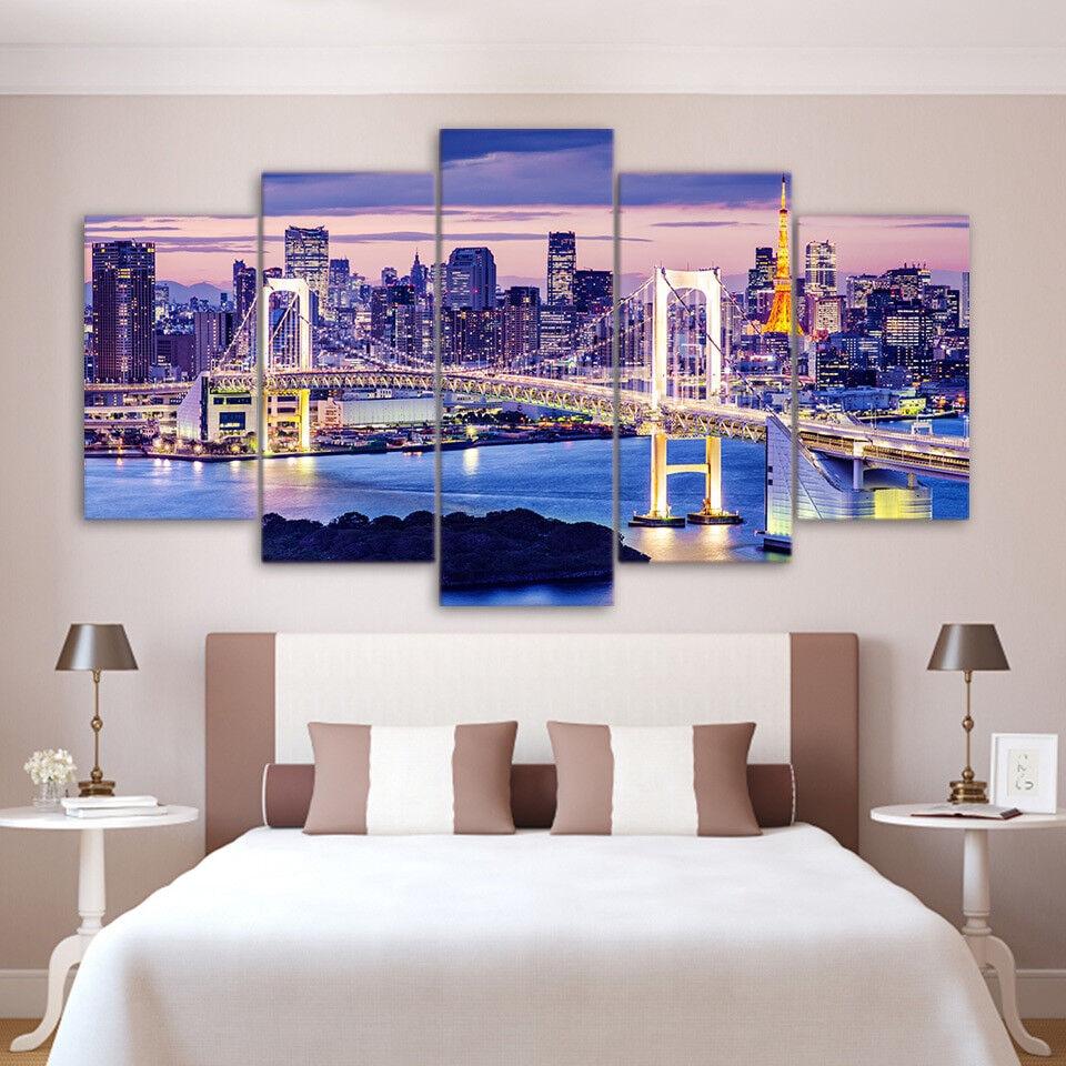 Rainbow Bridge Tokyo Skyline At Twilight 5 Panel Canvas Print Wall Art Poster