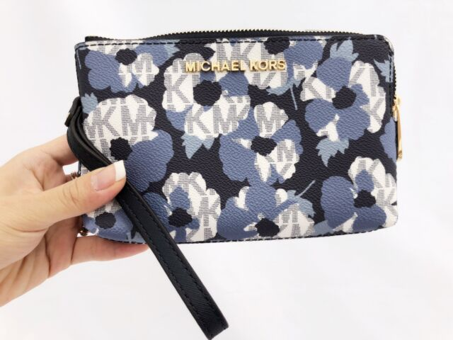 3c41ce961adb Michael Kors Large Double Zip Wristlet Navy White MK Signature Floral Wallet