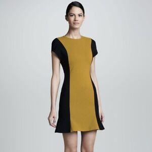 Jason Wu $1895 Size 6 Wool Crepe Dress Gold Yellow Black Colorblock Ruffle