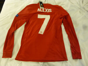buy online e83ff ca6bf Details about NWT Adidas 17/18 Manchester United #7 Alexis Champions League  Red LS Jersey (L)