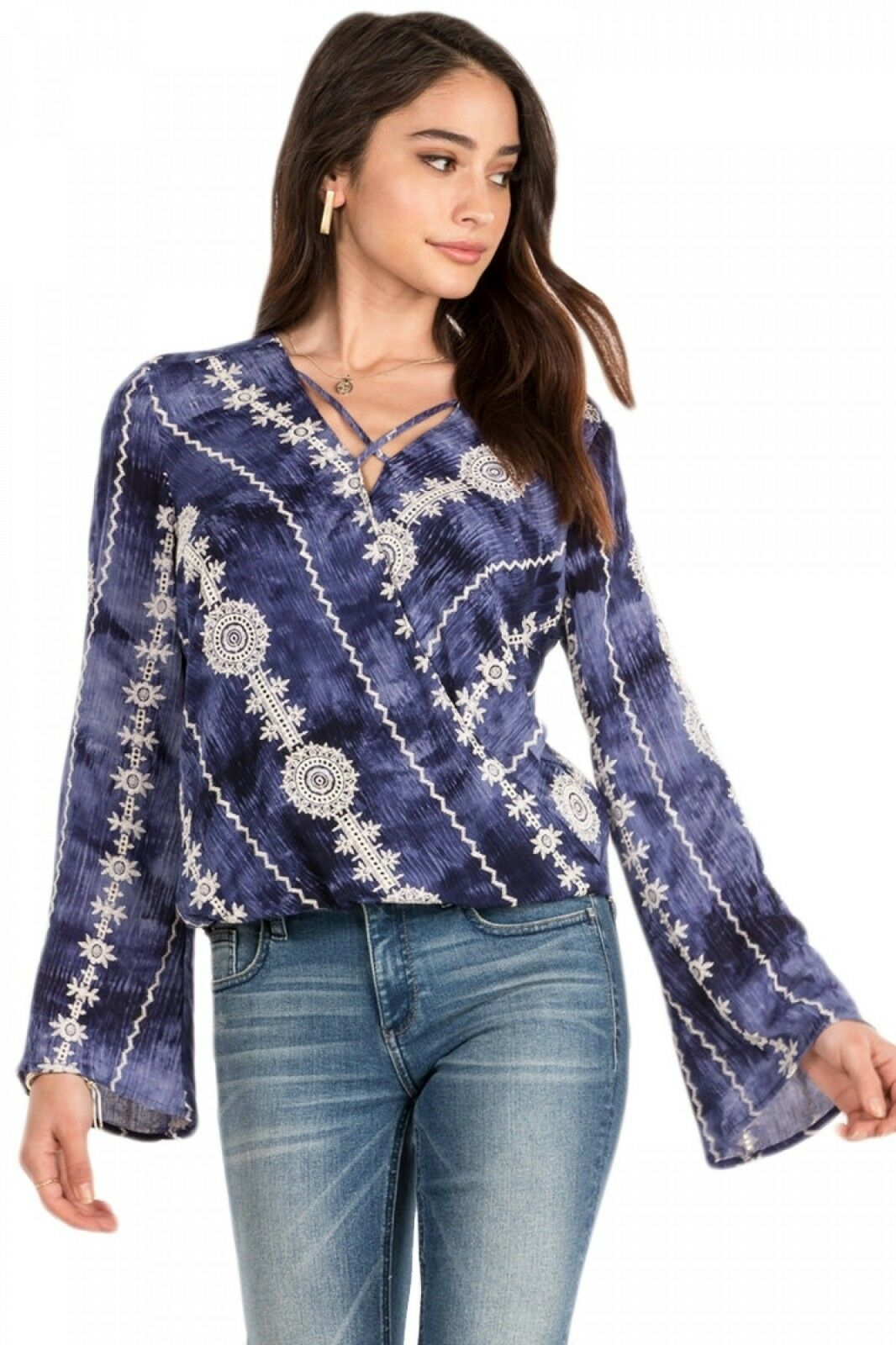 Miss Me Navy Embroidered Tie Dye Bell Sleeve Top MMT0323L