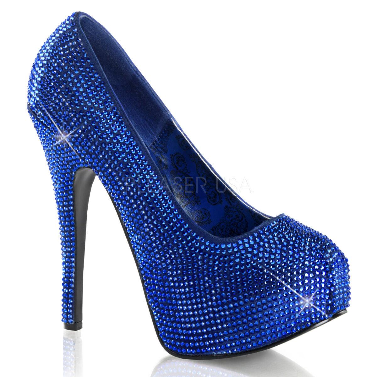 Burdel teeze-06r Royal Azul Satinado Rhinestone Rhinestone Rhinestone Cubiertos 6  Tacones Zapatos De Plataforma