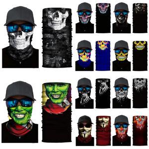 Joker Skull Face Mask Neck Gaiter Biker Scarf Tube Bandana Beanie Cover 16 style