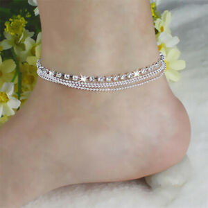 Jewelry-Foot-Silver-Bead-Chain-Anklet-Ankle-Bracelet-Barefoot-Sandal-Beach-bw