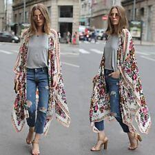 Women Vintage Floral Loose Shawl Kimono Cardigan Boho Chiffon Tops Blouse I4v0
