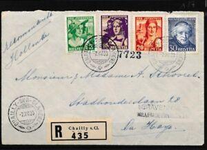 Schweiz-266-269-Briefe-Belege-Einschreiben-nach-Holland-mit-Ankunftsstempel-echt