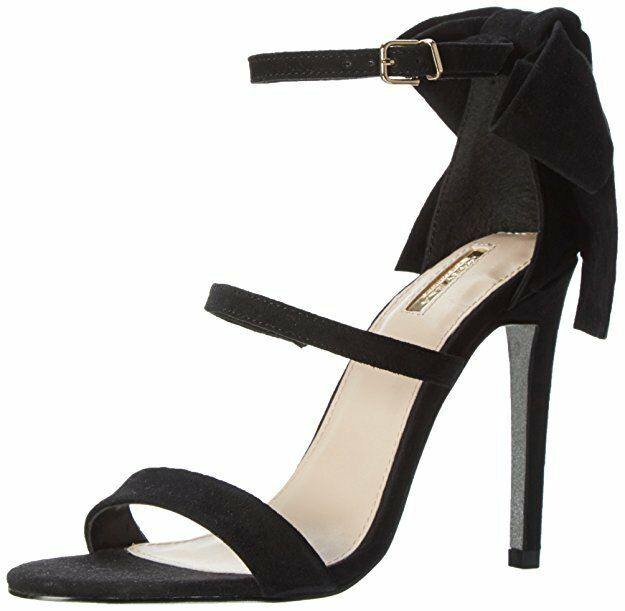 CARVELA KG GLOSS SIZE 3 7 8 BLACK REAL SUEDE BOW STRAPPY SANDALS SHOES
